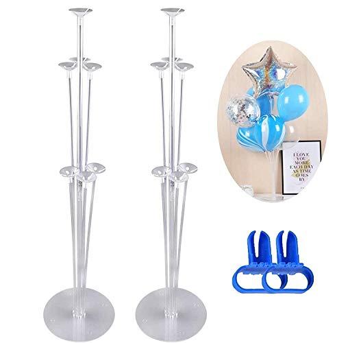 2 soportes de globos, soporte de globos de mesa transparente, mesa y fiesta de cumpleaños, evento de boda, soporte de decoración de globos para la mesa de decoración de Halloween