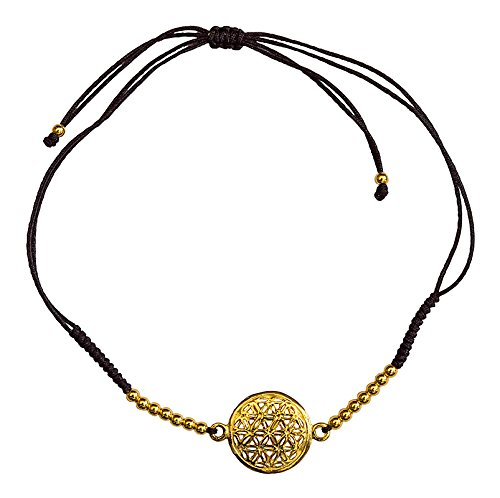 Pulsera para mujer de plata 925 chapada en oro con 16 perlas de plata y cordón ajustable de algodón de alta calidad. Elegante y espiritual. Perfecta para cualquier ocasión.