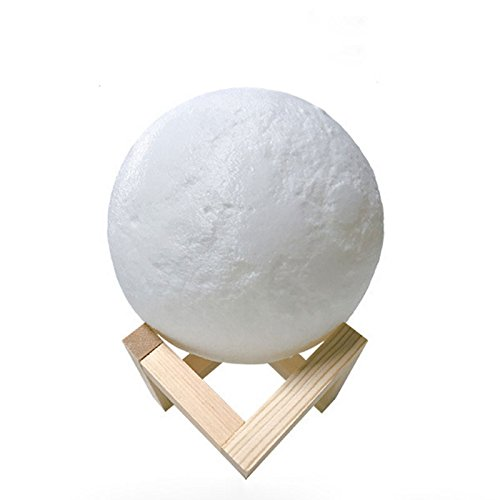 JKL Veilleuse Night Light Chambre Moon Lampe Avec Télécommande Charge USB 5.9 Pouces Moon Lampe 16 Couleurs Lampe Lune Pour Enfants Super Réaliste Moon Surface Moonlight Avec Support