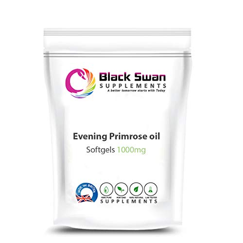 Black Swan Eve Primrose Oil 1000mg Softgels - Supplement for Women - Healthy Skin, Hair and Bones - Support Premenstrual Syndrome and Menstrual Cramps - Essential Omega-6 Fatty Acid (120 Softgels)