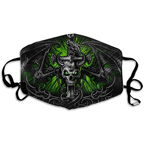 Green Gothic Dragon und Skull Dust Covers Mundabdeckung Earloop Face Cover