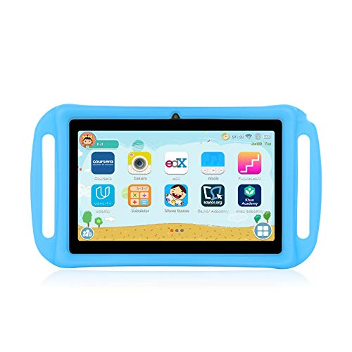 Xgody T702 7 Inch Android Kids Tablet PC for Kids Internet Class Quad Core Android 8.1 1GB RAM 16GB ROM Touch Screen with WiFi Pre-Loaded 3D Game Dual Camera Blue