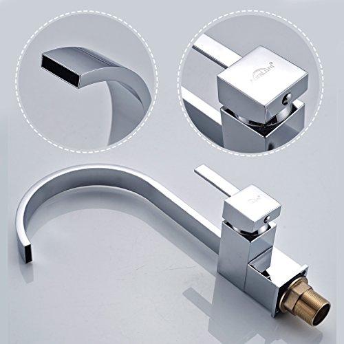 Auralum® Design Wasserhahn Hoher C-Auslauf Spültischarmatur Einhandmischer Küche Spüle - 3