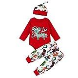 SUMTTER Weihnachten Baby Kleidung Set Christmas Cosplay Kostüm für Neugeborenes Jungen Mädchen Baby Strampler + Stirnband + Hose + Hut Outfits Set (rot/Elk, 0-6 Monate / 70)