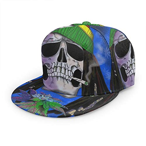 Bettiboy Cannabis Weed Leaves Marihuana Rasta Skull Snapback ajustable Flat Bill Gorra de béisbol de algodón visera sombrero liso para deportes al aire libre hombres mujeres negro