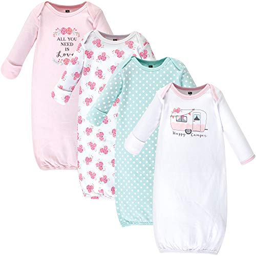 Hudson Baby Baby Cotton Gowns, Pink Happy Camper, 0-6 Months