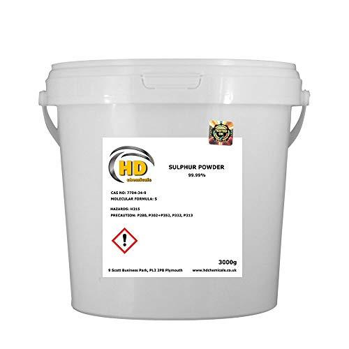 99,9% puro grado flores de azufre polvo 3kg cubo