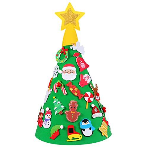 SUPVOX DIY Filz Weihnachtsbaum mit 29pcs Verzierungen Kinder neues Jahr Spiel handgemachte Spielzeug für Weihnachten zu Hause Parteidekor