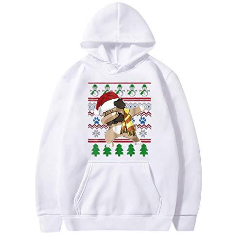 Aoogo Herren Damen 3D Print Hoodie Weihnachten Cartoon Schneemann Print Sweatshirt Paar Warmer Pullover Top Big Pocket Casual Kapuzenpullover Langarm Langarm Pullover mit Kapuze