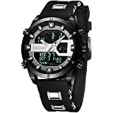 Mens Watches Digital LED Waterproof Sports Watches Chronograph Silicone Band Military Analog Quartz Watches Dual Movement Wrist Watches for Men Stopwatch Calendar Black Watch