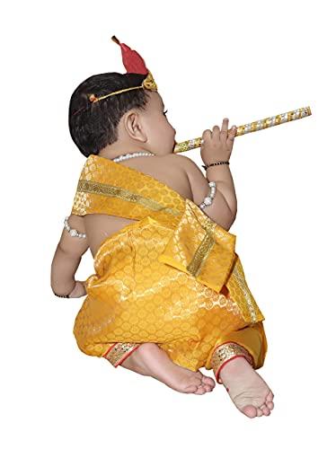 Raj Fancy Dresses Baby Krishna Brocade Fabric Janmashtami Mythological Character Costume 6