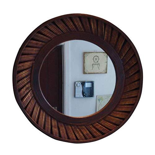 JALAL Badezimmerspiegel Kosmetikspiegel Make-up Spiegel Runde Wandbehang Kleiderspiegel Retro Design Abgeschrägte Glas Bronze Rahmen 68cm Durchmesser Hängespiegel