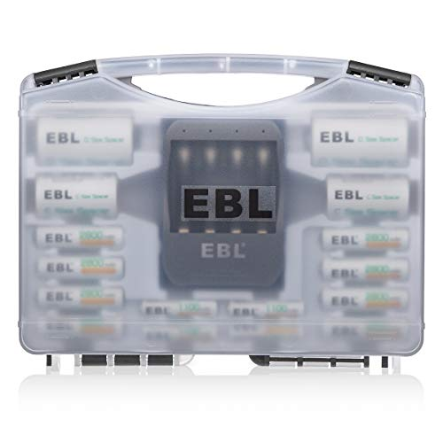 EBL Black Batteries Box Include : Rechargeable 8 AA Batteries + 4 AAA Batteries + 40Min iQuick Battery Charger and 2Pcs C/D Converters with Battery Storage Organizer