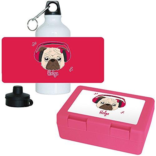 Brotdose + Trinkflasche Set mit Namen Helga und schönem Mops-Motiv mit Kopfhörer und Schleife für Mädchen | Aluminium-Trinkflasche | Lunchbox | Vesper-Box