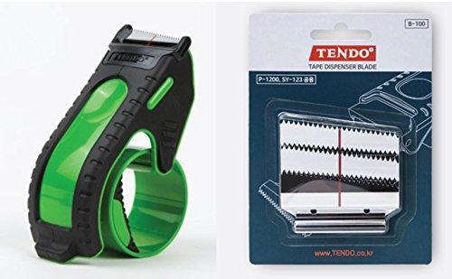 Upgraded TENDO Tape Dispenser, 2-Inch Packing Tape Gun Cutting Dispenser and Packing Dispenser Replacement Blade 3pcs Set