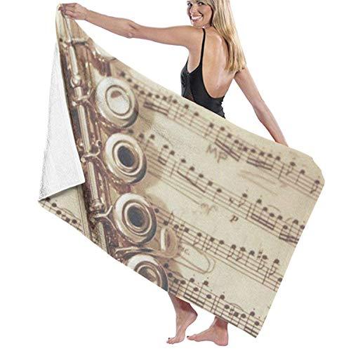 WKLNM Bad Handdoeken, Flute Muziek Wasdoekjes 100% Polyester Katoen Handdoek Zeer absorberende Sauna Handdoek Sneldrogende Badlakens voor Home Hotel Spa (32x51 inch)
