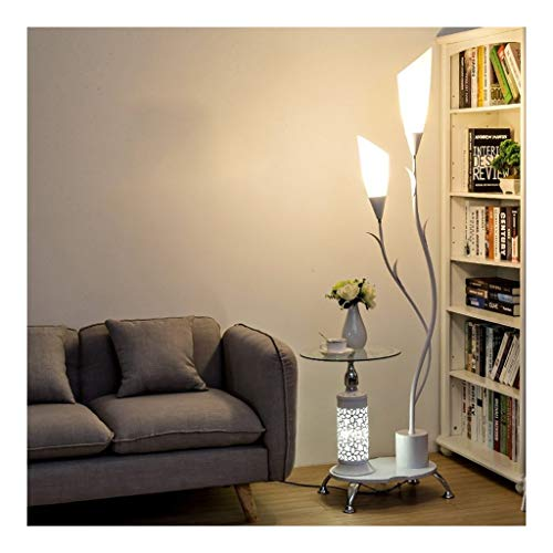 Jiji Lámpara de pie Lámpara de pie LED Moderna Creativa con Mesa de té Tipo Vertical Lámpara de pie Lámpara de acrílico Lámpara de pie de Sombra Dormitorio Sala de Estar Lámpara de pie LED