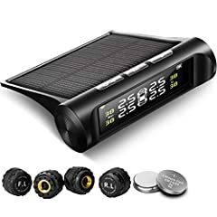 [SOLAR POWER & USB CHARGING]: 2 charging ways which ensure the tire pressure monitoring system will work continuously, and do not occupy the car cigarette lighter socket. [6 ALARM MODES]: fast leak alarm, slow leak alarm, high pressure alarm, high te...
