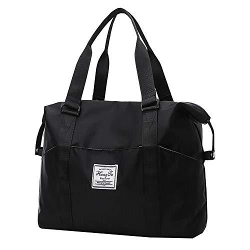 Reisetasche Weibliche Nylon Tragbare Einfache Schulter Fitness Set Trolley Schwarz 45 * 16 * 28
