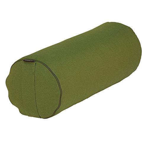 BODHI Yoga- & Pilates-Bolster Ø 23 cm, Rolle mit Bio-Dinkelspelz-Füllung, aubergine, Yogakissen mit Trageschlaufe & abnehmbarem Bezug aus Baumwolle