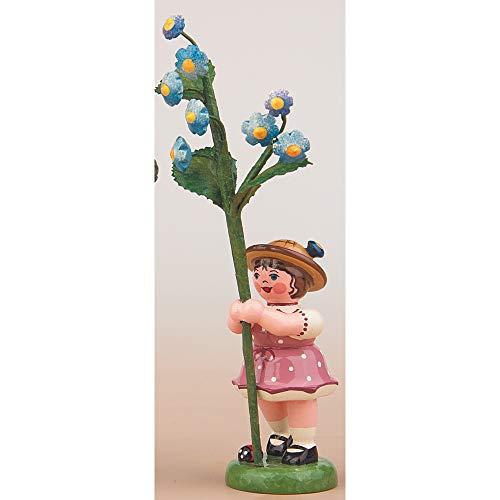 Hubrig Blumenmädchen 11cm Blumenkind mit Vergissmeinnicht Erzgebirge