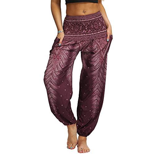Nuofengkudu Damen Hippie Yogahosen Haremshosen mit Taschen Leichte Boho Muster Bunt High Waist Pumphose Sommer Lockere Strandhose (Braun B,One Size)