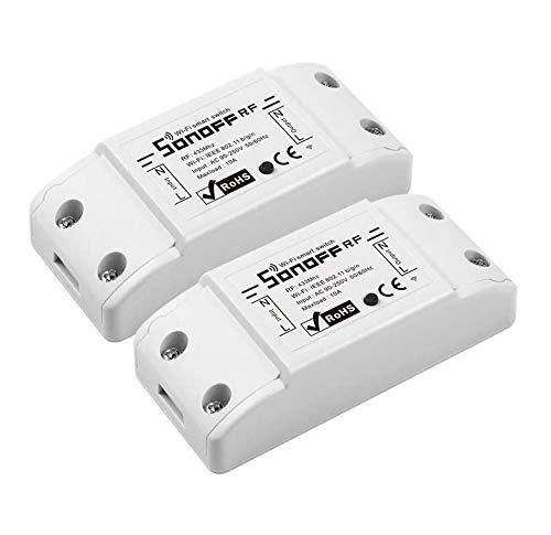 Sonoff RFR2 2PCS Wi-Fi Kabelloser Intelligenter Schalter mit 433-MHz Funkempfängermodul, Wi-Fi & Funk Fernbedienter Schalter mit Timer für Smart Home
