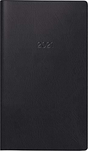 Brunnen 1075328901 Taschenkalender/Monats-Sichtkalender Modell 753, 2 Seiten = 1 Monat, 8,7 x 15,3 cm, Kunststoff-Einband schwarz, Kalendarium 2021