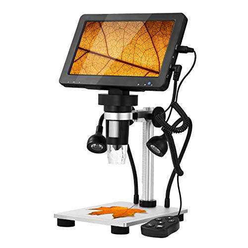 Hayve 7 Inch LCD Digital Microscope 50x-1200x Magnification,1080P 12MP Camera Video Recorder with Wired Remote,Metal Stand,8 Adjustable LED Lights for Kids Adults,Compatible with Windows Mac