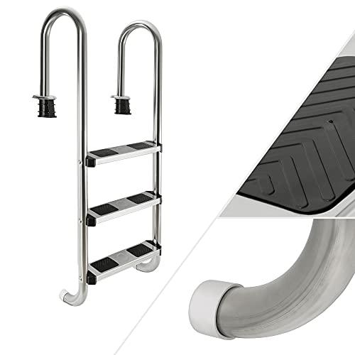 Arebos Edelstahl Poolleiter 3 oder 4 Stufen/mit Antirutschpads auf den Sprossen (3 Stufen)