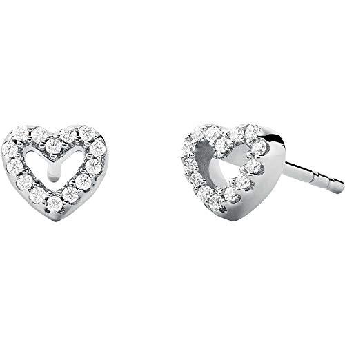 Michael Kors - Pendientes premium de plata de ley en tono plateado con cristales para mujer MKC1352AN040