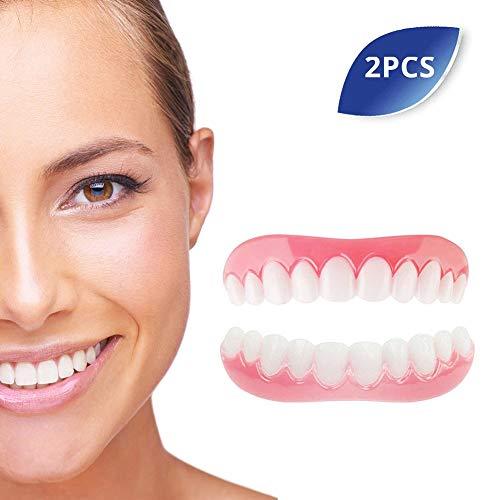 Kosmetische Zähne Provisorischer Zahnersatz Ober und Unterkiefer für Sofortiges Lächeln Extra Dünn Sicherer und Komfort Einfaches Auftragen 2 Stück
