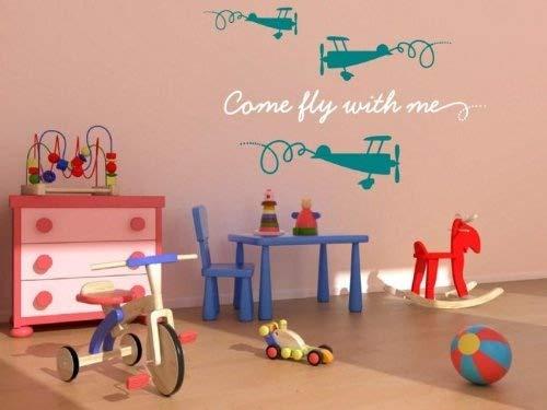 Come Fly avec moi. avec trois Drôles avions Sticker mural – Le meilleur pour Kids-room, chambre d'enfant, Blanc/turquoise, Small: 50cm width of writing