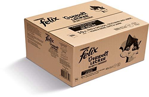 FELIX So gut wie es aussieht Doppelt Lecker Katzenfutter nass in Gelee, Sorten-Mix, 120er Pack (120 x 85g)
