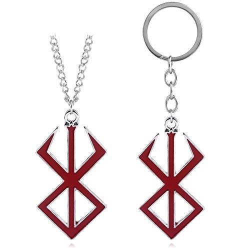 Porte-clés/collier, pour femme, simple Anime Cosplay, pendentif en forme d'épée rouge