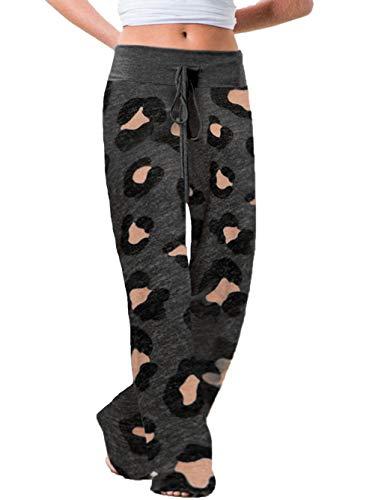 iChunhua Xmas Women's Casual Sports Yoga Pants Floral Print Drawstring Palazzo Lounge Pants Wide Leg(Leopard Gray,X-Large)