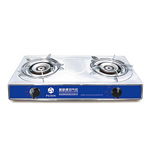 PUXIN BioGas Stainless Steel Double Burner Cook Oven Biogas Stove Biogas Fuel Use