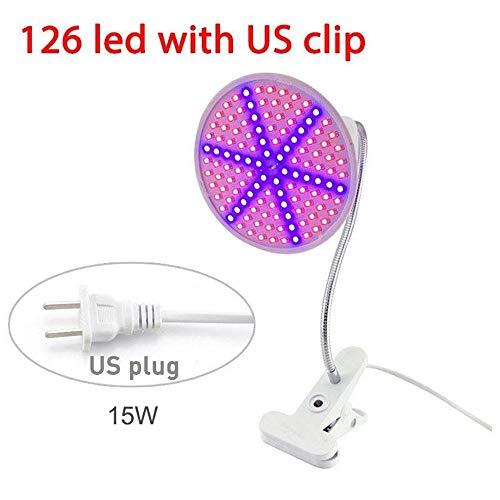 H.Y.BBYH Luz LED LED Grow Light con 360 ° Lámpara Flexible Clip Clip Lámpara de Crecimiento Vegetal for Interior LED Sensor de Movimiento Luz Nocturna (Size : 15W+US Bracket)