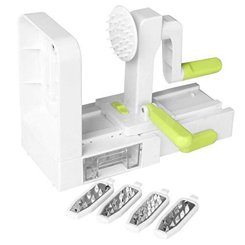 FEE-ZC Rutschfester Spiralizer, 4-Blatt-Gemüsespiralizer Faltbarer Spiralschneider Zucchini-Nudel Veggie Pasta Spaghetti Maker Saugnapf Multifunktion, Weiß