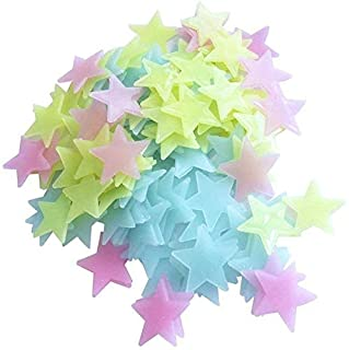 100PCs Luminous Plastic 3D Stars Glow in the Dark wall stickers For Decorative Kids Bedroom Living Room Multi Color
