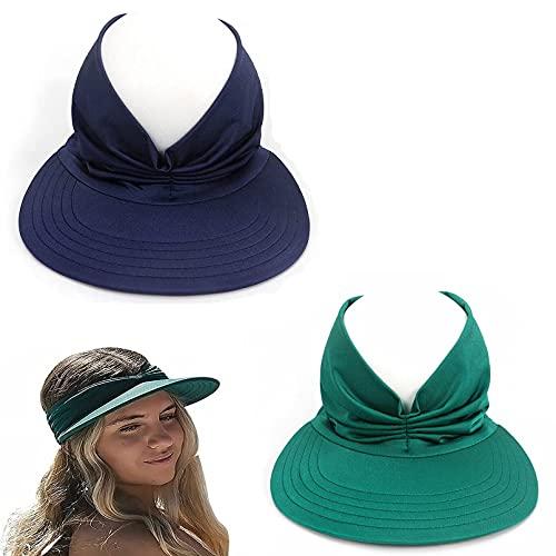 S-SNAIL-OO 2pcs Beach Sun Visor Hat, Summer Sun Hat Elastic Hollow Cap Oversized Brim Sunhat, Foldable Hollow Out Sun Visor Wide Brim Beach Hat, Hollow Cap Sunhat for Women, Sun Protection (D)