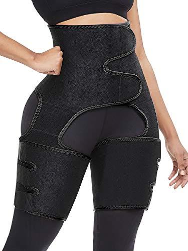 GHJKL 3-in-1 Hip Belt Explosion Sweat Plastic Belt Sports Bodybuilding Adjustable One-Piece Waist Belt Leg BeltBLACK-L/XL