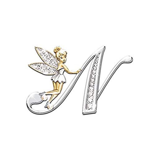 Metal Crystal English Letter Word Brooch Elf Angel Lapel Pina Suit Shirt Collar Pins Brooches For Women Accessories (Metal color : N)