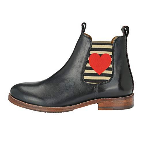 CRICK IT DLM Damen Chelsea Boot Julia mit Herz Dekorative Naht