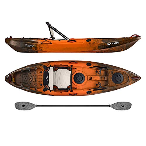 Vibe Kayaks Yellowfin 100 10 Foot Angler Recreational Sit On Top Light Weight Fishing Kayak (Wildfire) with Paddle and Adjustable Hero Comfort Seat - Grey Evolve Paddle