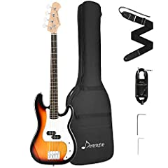 Full-size electric Bass Guitar and all the accessories necessary to start playing, perfect for beginner and intermediate players. Ebony fingerboard, Canadian maple neck, Solid basswood body, p-bass pickups. The electric BASS guitar features a P-bass ...
