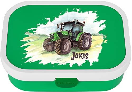 EZYshirt® Traktor mit Wunschnamen | Trecker Aufdruck Personalisierte Brotdose mit Bento-Einsatz