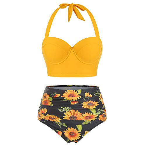 Women Two Piece Sunflower Swimsuit Outfit Halter Neck Crop Cami Top with High Waist Shorts(Yellow, L)