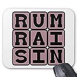 Alfombrilla de ratón Redonda de Goma Antideslizante, diseño de Juego (20 x 24 cm) - Alfombrilla de ratón con Sabor a Helado de pasas de Ron