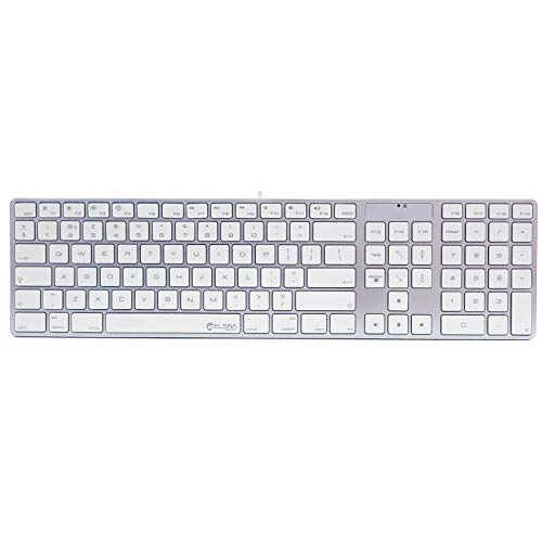 ELSRA Low Profile USB Wired Full Size Mac Compatible Keyboard with Numeric Keypad, Silicone Cover Skin Included, UK Layout - Silver/White